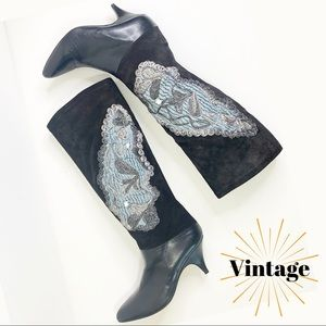 PHYLLIS POLAND Vintage Suede Italian Leather Boots